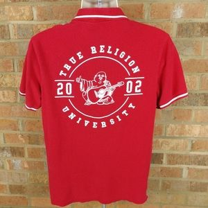 True Religion University Red Polo Shirt